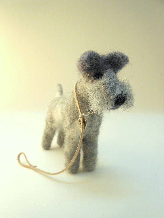 Needle Felted Schnauzer Dog OOAK by Artist Dee P
