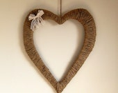 Rustic Wedding Heart Wedding Decoration Hanging Jute Love Heart Decor with lace bow