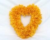 Fabric Rag Wreath Sunshine Yellow
