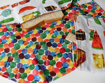Fabric Snack bag and Sandwich Wrap The Very Hungry Caterpillar Placemat fabric only reusable ecofriendly gift under 20