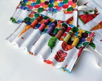 Birthday Party Favor Crayon Roll Set of 7 to 16 - Holds 6 Crayons The Very Hungry Caterpillar Fabric
