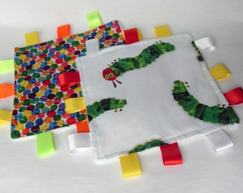 Personalised Taggies / Set of 2 The Very Hungry Caterpillar / Choose your Minky Colour/ Taggie Blanket / Baby Gift Idea
