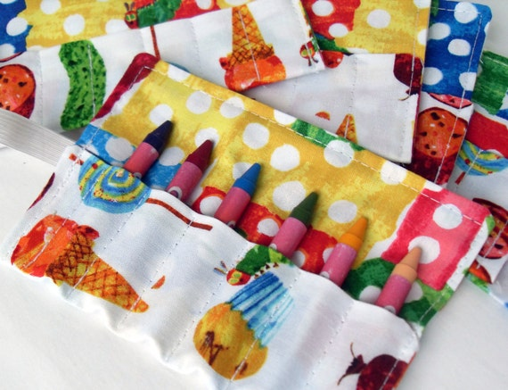Very Hungry Caterpillar Birthday Party Favor Crayon Roll Set of 7 to 16 - holds 6 Crayons -