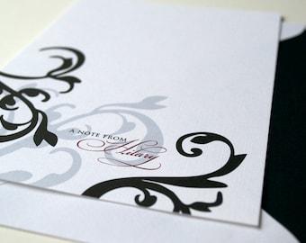 Personalized Stationery Damask and Filigree Design - Personal Stationery - Personalized Note Card Set - Elegant Stationery Damask Scroll