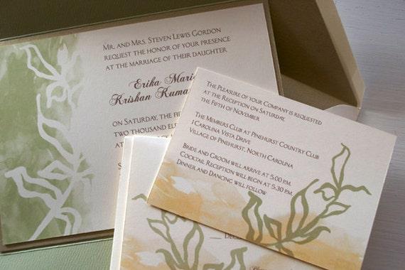 Watercolor Wedding Invitation - Watercolor Invite - Romantic Wedding - Rustic - Unique Wedding - Watercolor Botanical Wedding Invites