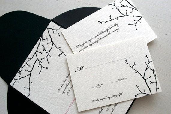 Winter Wedding Invitation with Silhouette Branch - Silhouette Winter Branch - Winter Wedding - Classic and Elegant Winter Wedding Invite