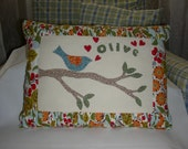 Bird Pillow,  Appliqued Pillow, Novelty Pillow, Hearts and Tree Pillow, Hand Stitched  Pillow, Personalize with your own name or phrase