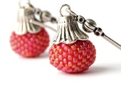 Red Orange Beaded Beads earrings (Tribal Collection)