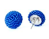 Cobalt Post Earrings Beaded Beads