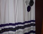 Shower Curtain Custom Made Designer Fabric Ruffles and Flowers White Black Purple Fun Elegant