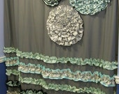 Shower Curtain Custom Made Ruffles and Flowers Designer Fabric Gray, Black, White, Mint, Light Teal/Aqua Stunning and Elegant