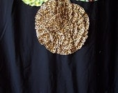 Shower Curtain Custom Made Ruffles and Flowers Designer Fabric Cheetah, Leopard Black, Lime Green, Brown, Red Full of Fun and Color