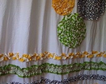Shower Curtain Custom Made Ruffles and Flowers Designer Fabric Corn Yellow, Lime Green, Deep Blue and White Bright and Cheery