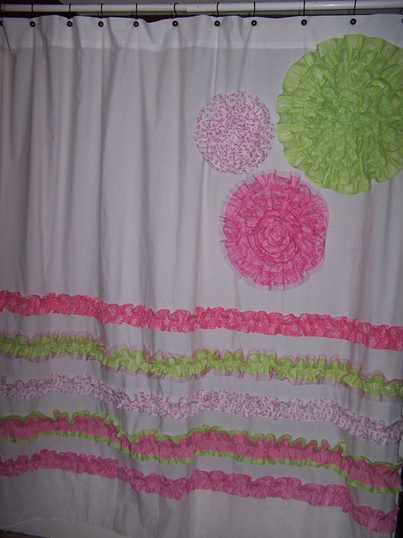 Shower curtain custom made designer fabric ruffles and flowers pink
