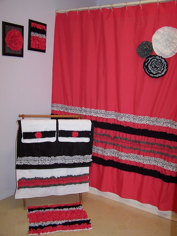 Curtains Ideas black shower curtain with white flower : Shower Curtain Custom Made Designer Fabric Ruffles and Flowers