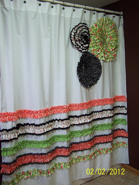 Shower Curtain Custom Made Designer Fabric Ruffles and Flowers Peach, Green, White and Black