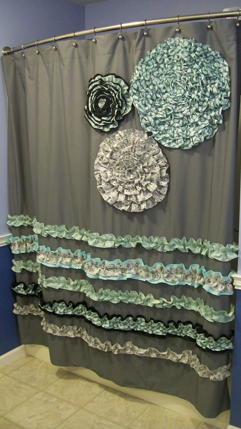 shower curtain custom made ruffles and flowers designer fabric
