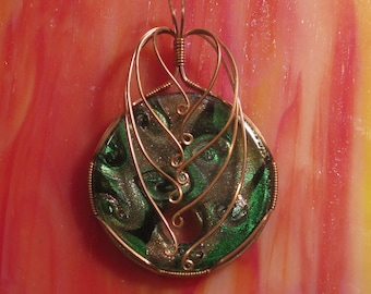 Handmade Copper Wire Wrapped, Copper, Green and Black Lampworked  Glass Pendant - Round