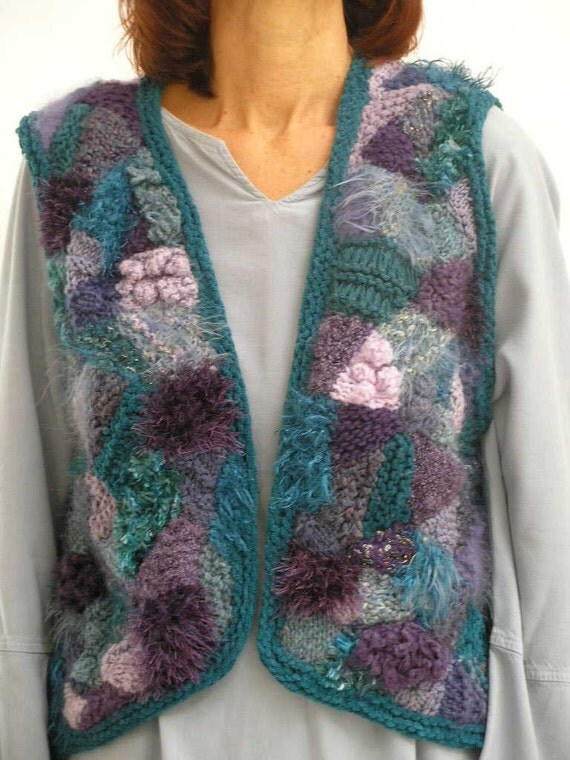 Hand knit vest - purple & turquoise - freeform design