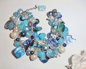 Beautiful doudle stranded bracelet made with a perfume charm, shell, and beautiful acrylic and millefiori beads