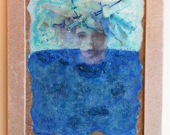 Goddess of Litter Mixed Media Painting & Upcycled Beach Litter