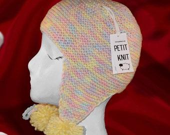 2T - 5T. EAR FLAP Wool Girl Hat . 100% Merino. Special Designed Loop to Keep Ears Warmer.