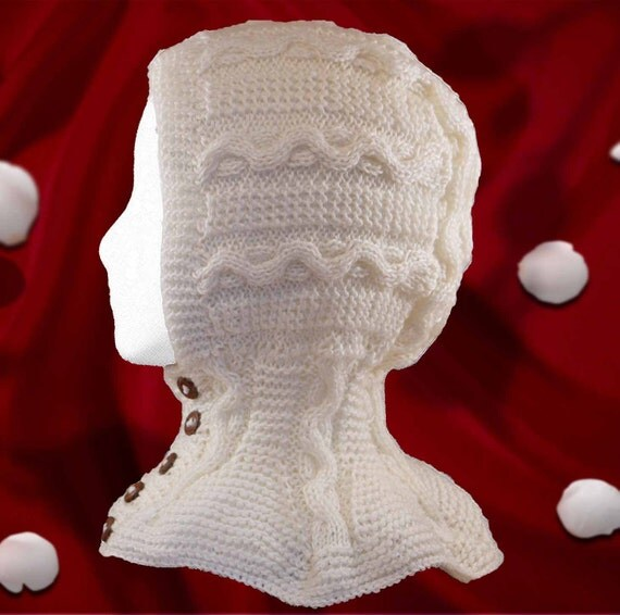 3T- 5T. HAT- Cable Knit Helmet With Leather Buttons for a Girl. Wool blend. Ready to ship.