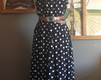 1980s Vintage Polka Dot Dress / S