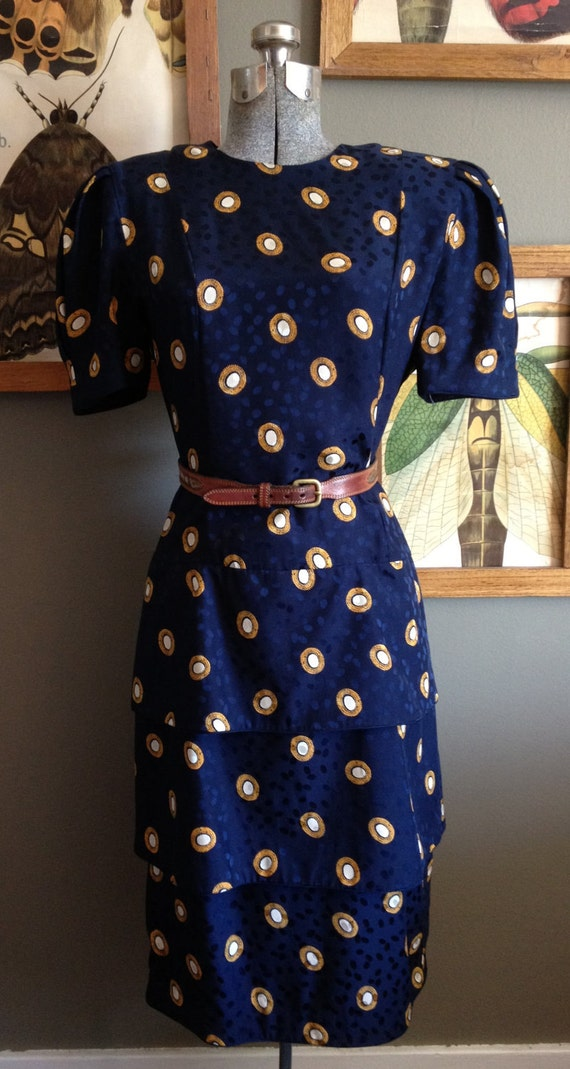 "1980s Vintage Secretary Dress / Navy Silk Dress / ""Pearl"" Accents / M"