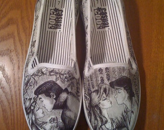 Disney Sleeping Beauty and Little Mermaid Custom Made Shoes WRAPAROUND ARTWORK and Shoes INCLUDED