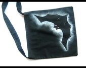 Personalized Halloween tote - black bag, glow in the dark bat and metalic sparkle paint