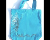 Personalized Halloween tote - Fairy, black and silver, on a bright turquoise canvas bag