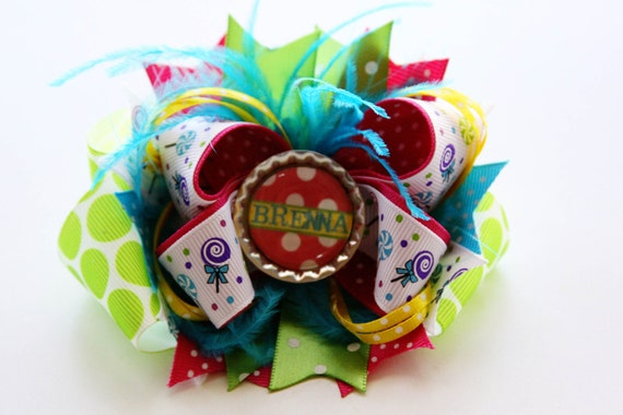 Birthday Bow with Custom Name Bottlecap