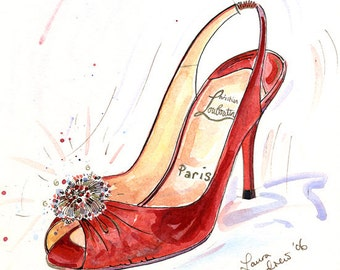 Fine Art SHOE PRINT of Christian Louboutin painting, red shoes A4