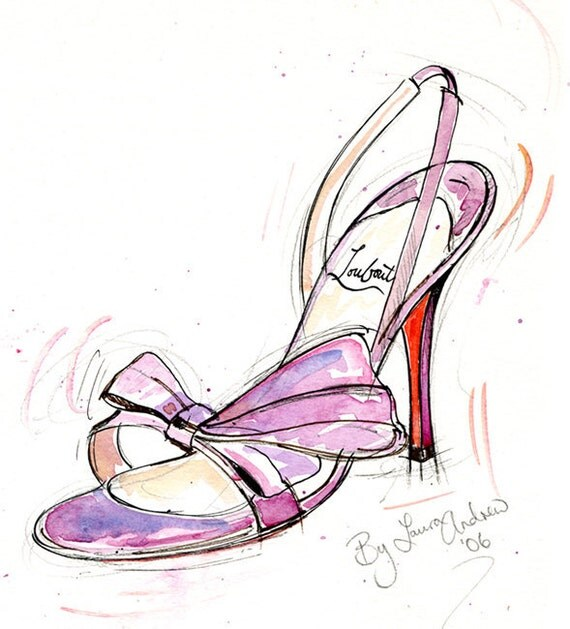 Fine Art SHOE PRINT of Christian Louboutin shoes painting Pink Bow shoe A4