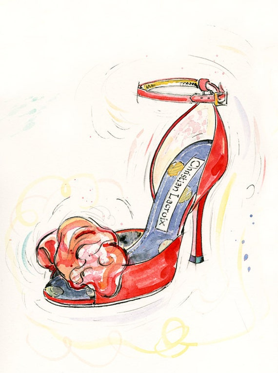 Fine Art Shoe Print Of Christian Lacroix Shoes Red Shoe