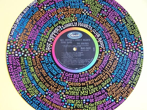 The Beatles Sgt Pepper Lyrics Handpainted On Vinyl By Miafudge