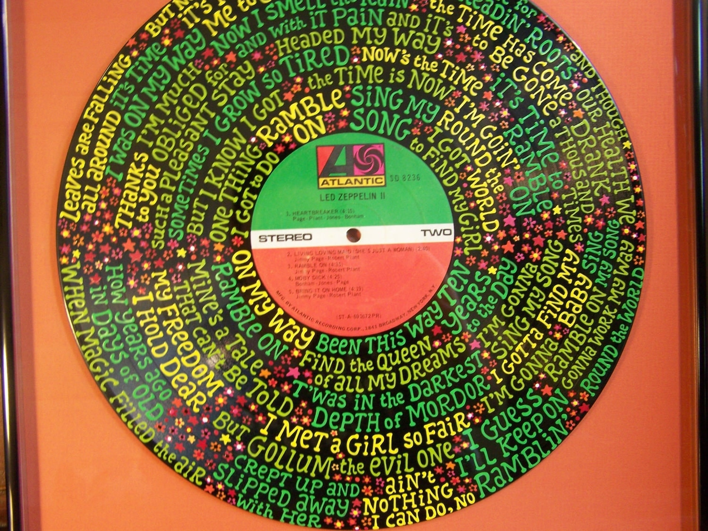 Led Zeppelin Ramble On Lyrics Handpainted On Vinyl Record