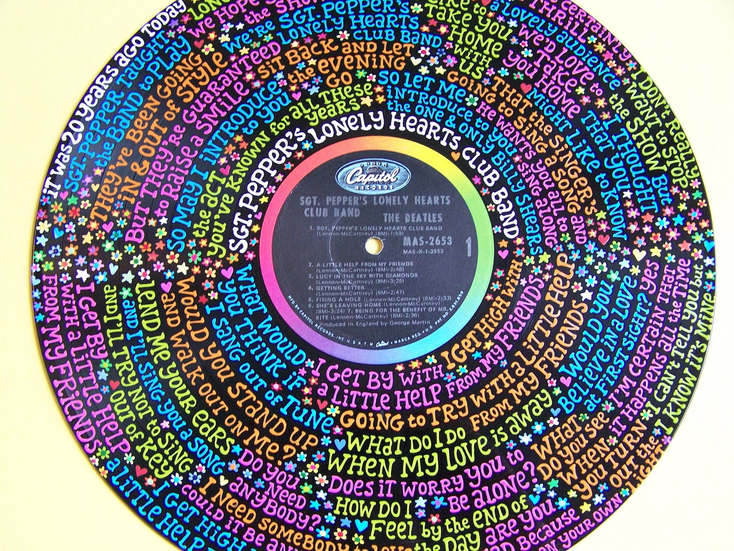 The Beatles Sgt Pepper Lyrics Handpainted On Vinyl Record