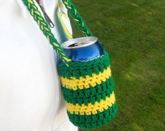Cozie, Hands-Free Can Cozie in Green and Yellow -- Tailgating, Hunting, Fishing, BBQ -- Go Ducks/ Go Packers