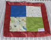 """Jungle Baby Blanket - Lovey Security Blanket - 15"""" x 15"""" Cotton and Flannel with Satin Trim - Ready to Ship"""