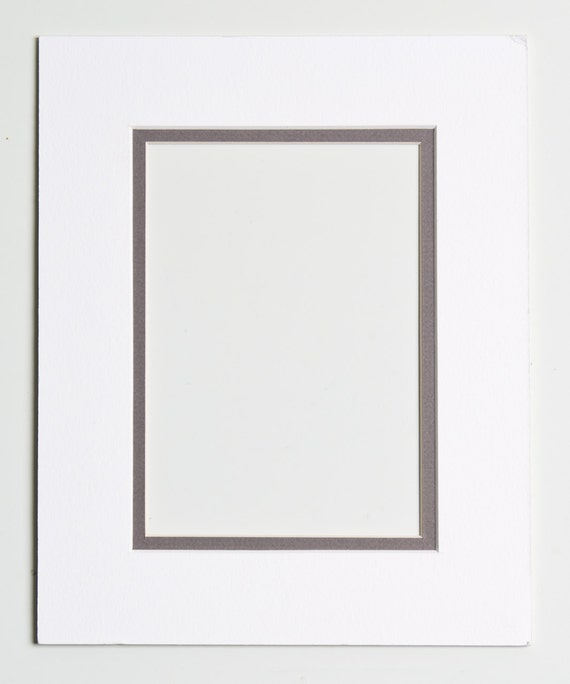 5x7 Double Mat - White and Gray for 8x10 Frame