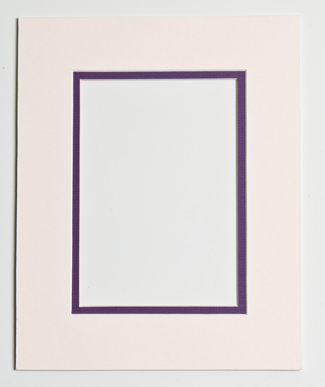 5x7 Double Mat Cream And Purple For 8x10 Frame