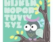 Owl ABC Children's Wall Art Print 8x10 (Green)