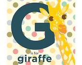 Giraffe Alphabet Nursery Art Print 9x9 - Baby Animal