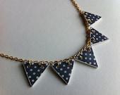 DOTTY - blue polka dot bunting necklace