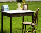 Vintage Up-cycled porcelan top table / desk with drawer Shabby Chic Retro