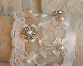 Bridal Pearls Bracelet Vintage Lace Cuff Hand Embroidered Bridal Wrist Pearls And Rhinestone Wedding Jewelry Vintage Lace Bracelet Floral