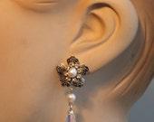 Bridal Sparkle Earrings -  Vintage Silver Flower, Rhinestone And White  Pearls,Swarovski Drop Crystals, Wedding Jewelry -Sarah