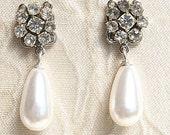 Bridal Earrings Deluxe Silver Drop Pearl Rhinestone Crystals Vintage Earrings Wedding Pearl Earrings Luxe Drop Pearl Earrings Zirconium Luxe